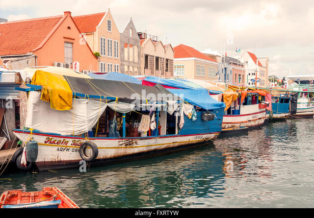 Floating Market at Punda Willemstad Curacao - Stock Image