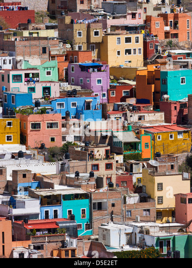 Aerial view of colorful houses of Guanajuato, Mexico - Stock-Bilder