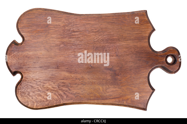 The ancient old oak board in the form of a banner isolated - Stock Image