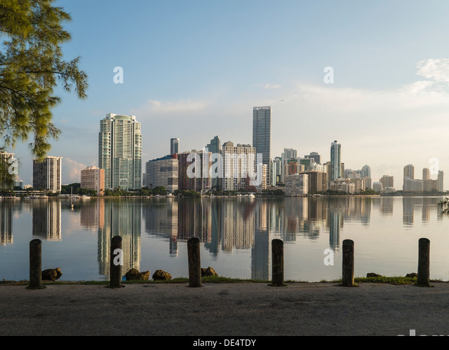 Brickell Ave Buildings. Biscayne Bay. Miami. Flordia. USA - Stock Image