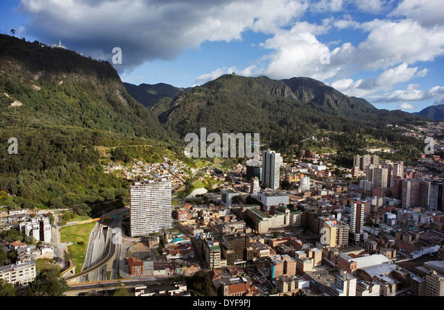 Panoramic view of Bogotá, the capital of Colombia. Aerial view of the centre of Bogota and the mountain Monserrate - Stock Image