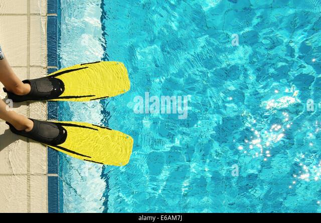 swimming pool,pool edge,fins - Stock-Bilder