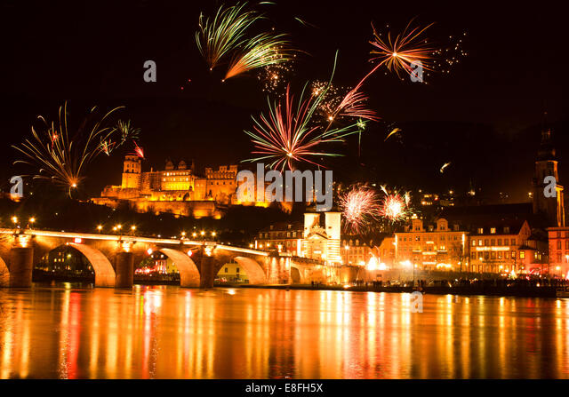 Germany, Heidelberg, New Year's Eve celebration - Stock Image