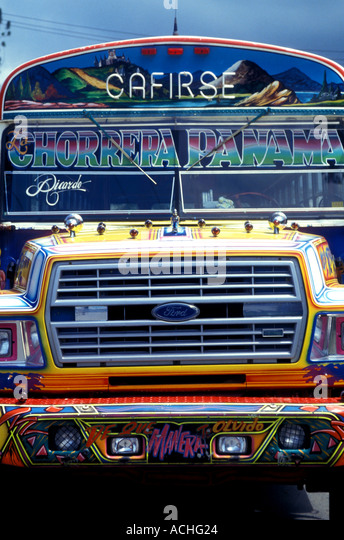 Panama Panama City Central America Front of colorful passenger bus - Stock Image