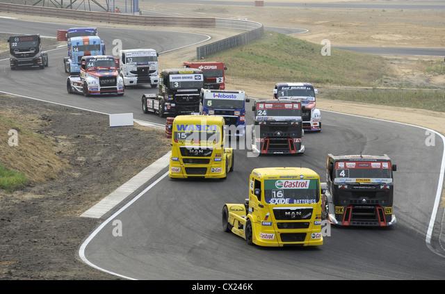 ITAR-TASS: SMOLENSK REGION, RUSSIA. AUGUST 8, 2010. Trucks compete in the FIA European Truck Racing Championship - Stock Image