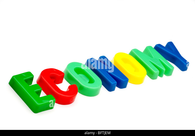 The word economy spelled out in plastic toy letters - Stock Image