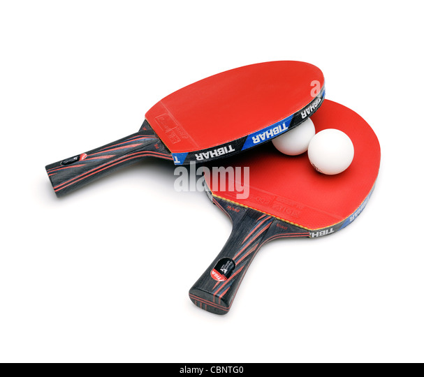 Table Tennis Bat and Balls, Cut Out. - Stock Image