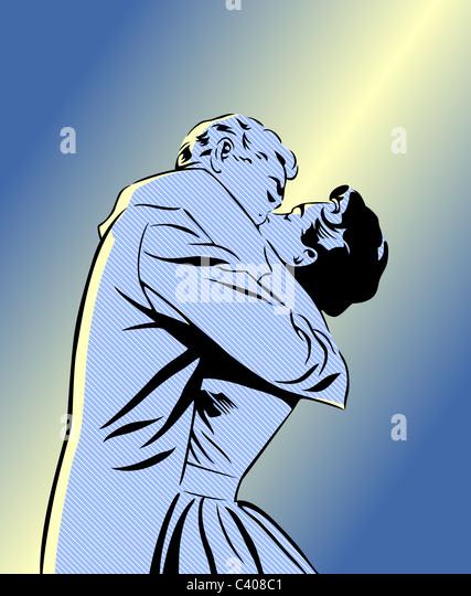 A retro comic style illustration of a couple kissing - Stock-Bilder