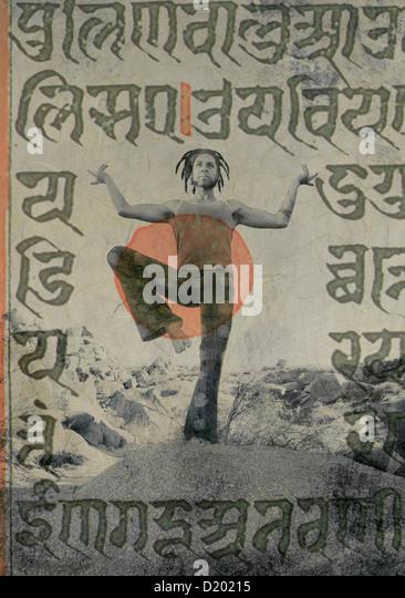 Yogi Shiva dancer with ancient sacred sanskrit writings overlaid. - Stock Image