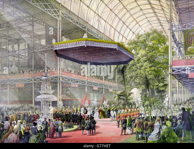 Great Exhibition 1851. The state opening of The Great Exhibition of 1851 by Queen Victoria and Prince Albert, Crystal - Stock Image