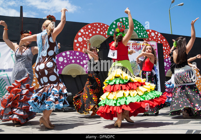 Flamenco dancers at Feria de Abril Flamenco weekend in Las Palmas, Gran Canaria, Canary islands, Spain - Stock Image
