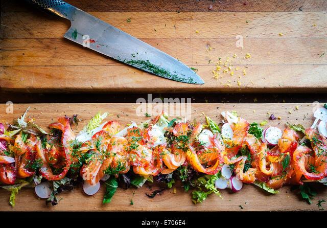 Gravlax salmon salad, still life - Stock-Bilder