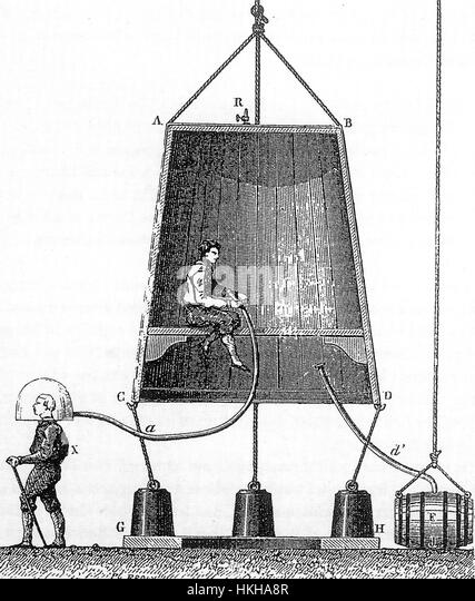 EDMUND HALLEY (1656-1742) English scientist. One of his designs for a diving bell about 1690 - Stock Image