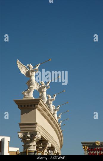Las Vegas Nevada Caesars Palace statues of angels blowing trumpets at caesars palace - Stock Image