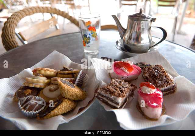 Tea and Patisseries, Casablanca, Morocco, Africa - Stock Image
