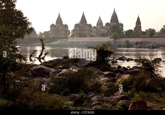 Chhatris in Orchha, Madhya Pradesh, India, Asia - Stock Image