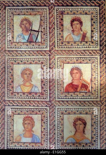 Mosaic of the Greek goddess of the arts, history, music and poetry. Dated 1st Century B.C. - Stock Image