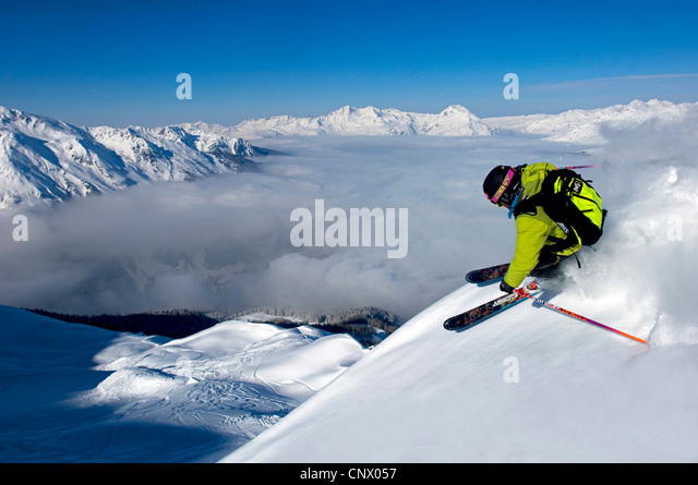 skier in Sainte Foy Tarentaise ski resort, north Alps mountains, France - Stock-Bilder