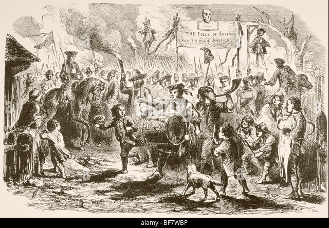 The Stamp Act riots in New York, 1765 - Stock Image