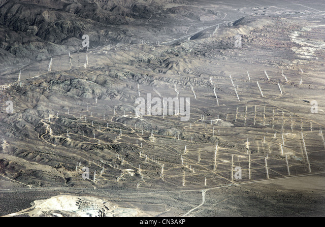 Aerial view of wind farm in desert, California, USA - Stock Image