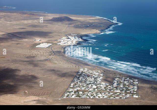 Aerial view of Famara Lanzarote Canary Islands - Stock-Bilder