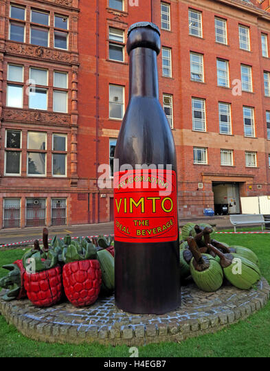 Giant Vimto fruit drink bottle monument,Manchester University,England,UK - Stock Image
