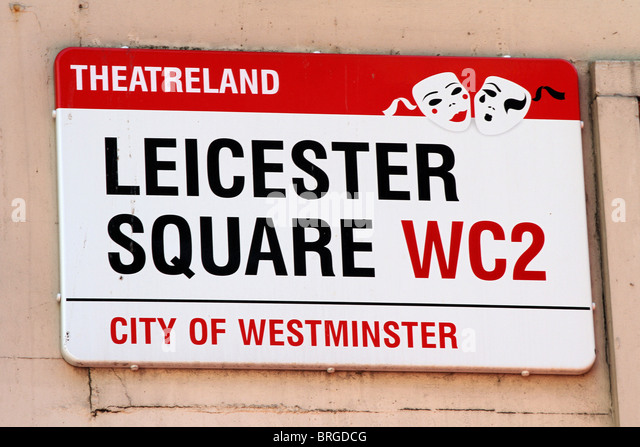 Leicester Square street sign, London, England - Stock Image