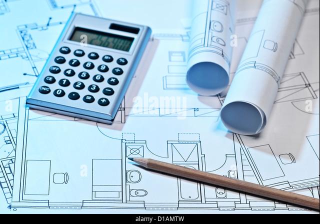 Blueprints and calculator - Stock-Bilder