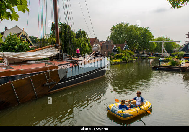 Edam Canal, Edam, Holland, Netherlands - Stock Image