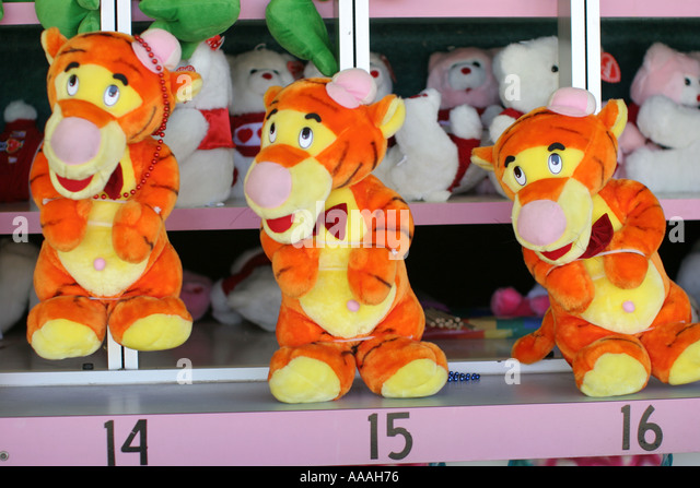 Florida, stuffed tigers, prizes, carnival game, contest, - Stock Image