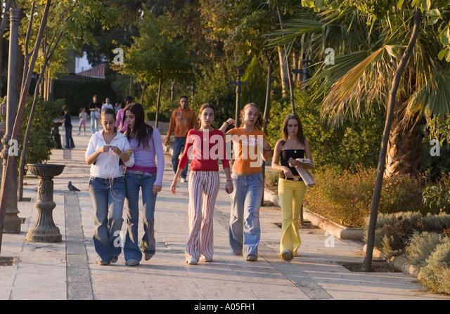 spain Costa del Sol Nerja Teenager strolling over the promenade - Stock Image