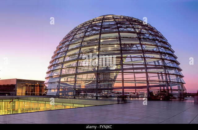 Berlin, Reichstag, roof terasse, dome by Norman Forster, twilight - Stock Image