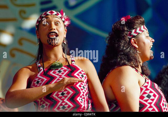 Maori women members of Te Waka Huia Upper Hutt New Zealand - Stock Image