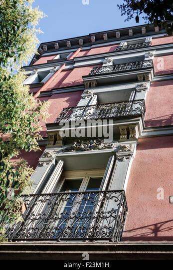 Spain Europe Spanish Madrid Salamanca residential apartment building - Stock Image