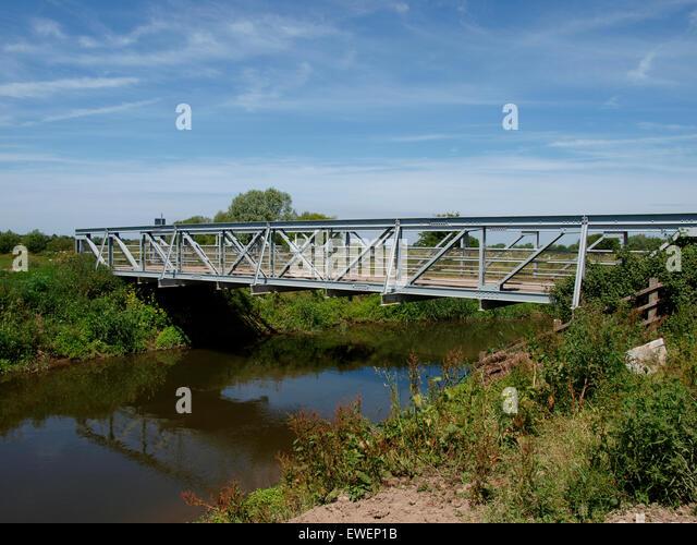 Hook bridge on the River Tone, Somerset, UK - Stock Image