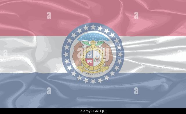 Missouri State Silk Flag - Stock Image