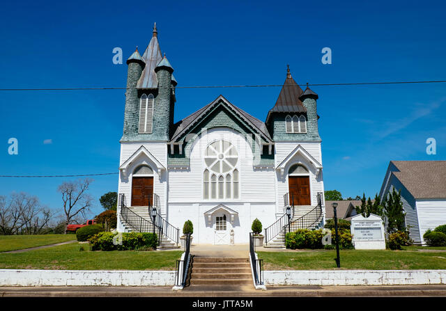 Fort Deposit, Alabama, United Methodist Church with two entrances, one for men and one for women, built in 1899 - Stock Image