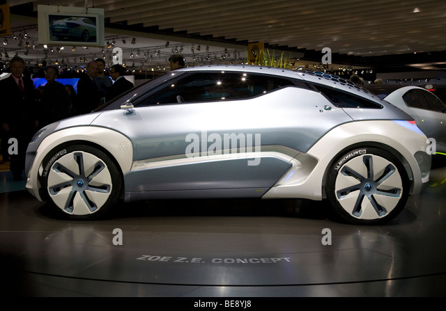 Renault Zoe ZE concept electric car at a European motor show - Stock Image