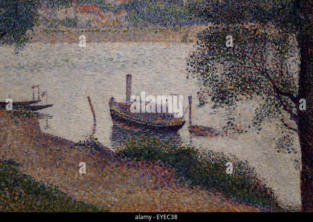 Georges Seurat (1859-1891). French painter. Gray Weather, Grande Jatte, 1886-88. Oil on canvas. Metropolitan Museum - Stock Image