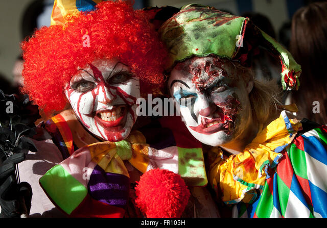Clown Zombies on a Zombie Walk in Brighton, East Sussex, UK. - Stock Image