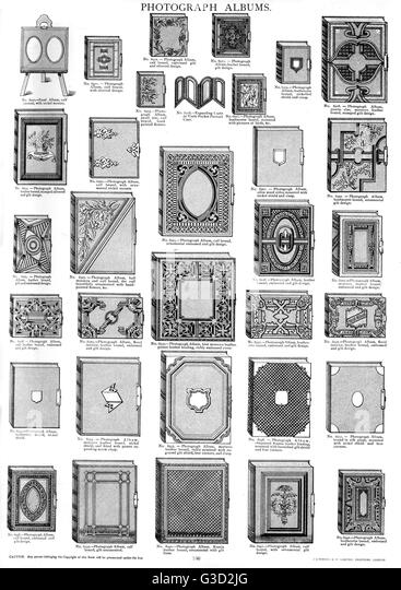 Photograph Albums, Plate 180, showing a range of styles and sizes, patterned and plain.      Date: circa 1880s - Stock-Bilder