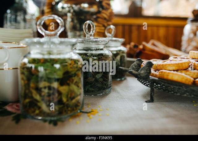 green tea and cookies - Stock Image