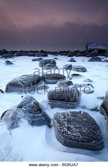 Frosty rocks at Larkollen in Rygge, Østfold fylke, Norway. - Stock-Bilder