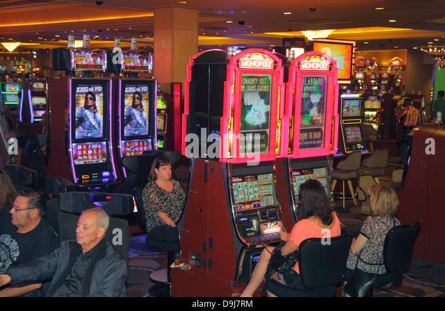 Nevada Las Vegas The Strip South Las Vegas Boulevard Bally's Las Vegas Hotel and Casino slot machine machines - Stock Image