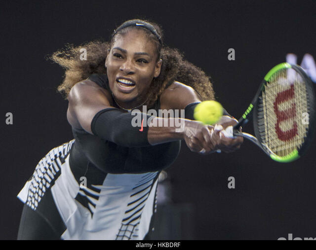Melbourne, Australia. 28th Jan, 2017. United States' Serena Williams returns the ball during the women's - Stock Image