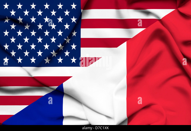 United States of America and France waving flag - Stock Image