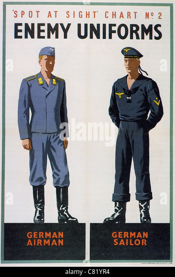 SPOT AT SIGHT CHART NO 2 ENEMY UNIFORMS - British WW2 poster - Stock Image