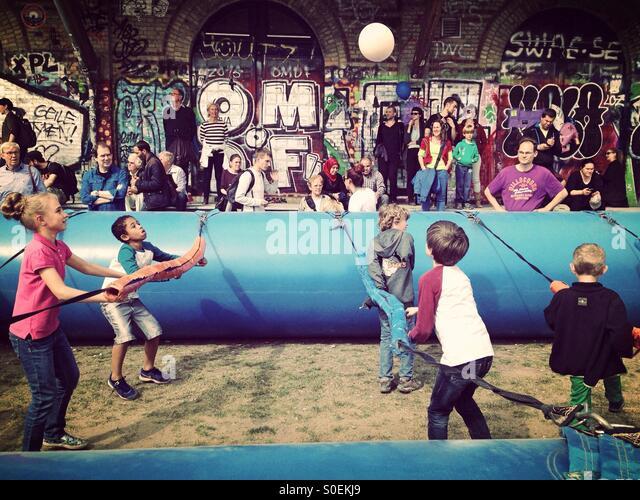 Human Foosball At the children's Party of the 2015 carnival of cultures in Berlin Kreuzberg - Stock-Bilder