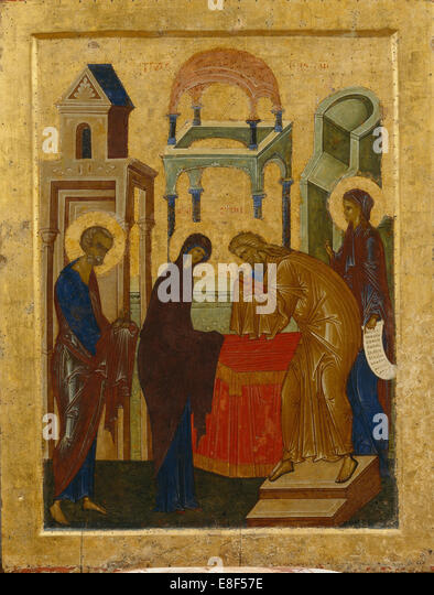 The Presentation of the Virgin Mary. Artist: Russian icon - Stock Image