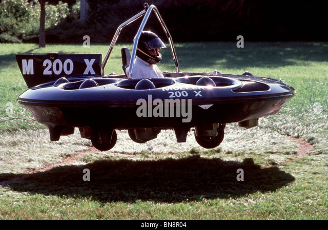 Dr. Paul Moller lifting off during a test flight of the M200X at Moller International in Davis California in 1988. - Stock Image
